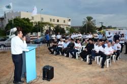 ראש עיריית אור עקיבא יעקב אדרי בטקס הנחת אבן פינה לתחנת מדא אור עקיבא - צילום דוברות מדא 28.10.15
