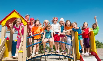 Funny children outdoors