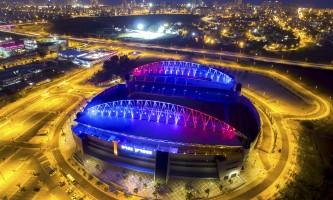 מזדהים תאורת הזדהות עם צרפת באצטדיון נתניה