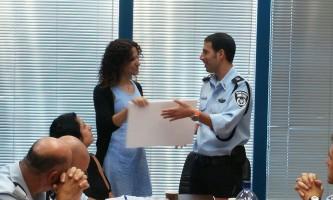 עיר ללא אלימות תעודת הוקרה למנהלת תכנית עיר ללא אלימות