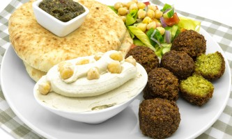 Middle Eastern food - falafel, hummus, pita