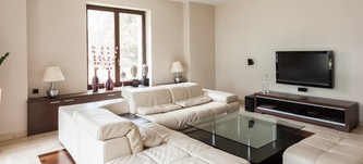 39761101 - panoramic view of modern and elegant living room interior