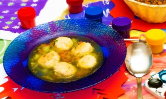 Dinner artist. Soup with meatballs on the table of illustrations from a watercolor painting