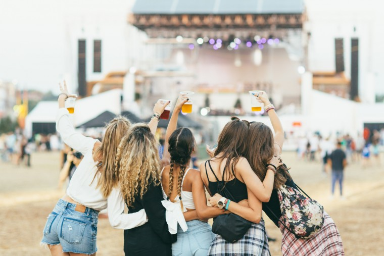 Friends having fun at music festival. Back view