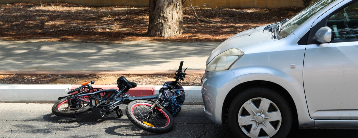 A traffic accident between electric bicycle and car