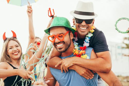 Brazilian Carnival. Group of Brazilian people in costume celebra